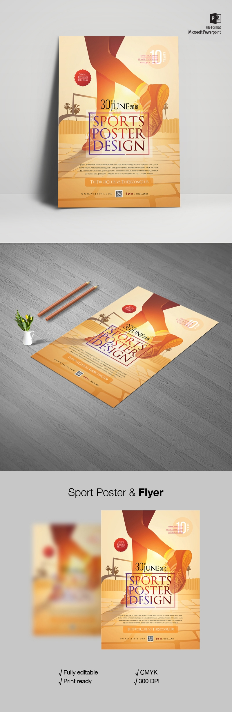 Sports Poster And Flyer With Legs Illustration