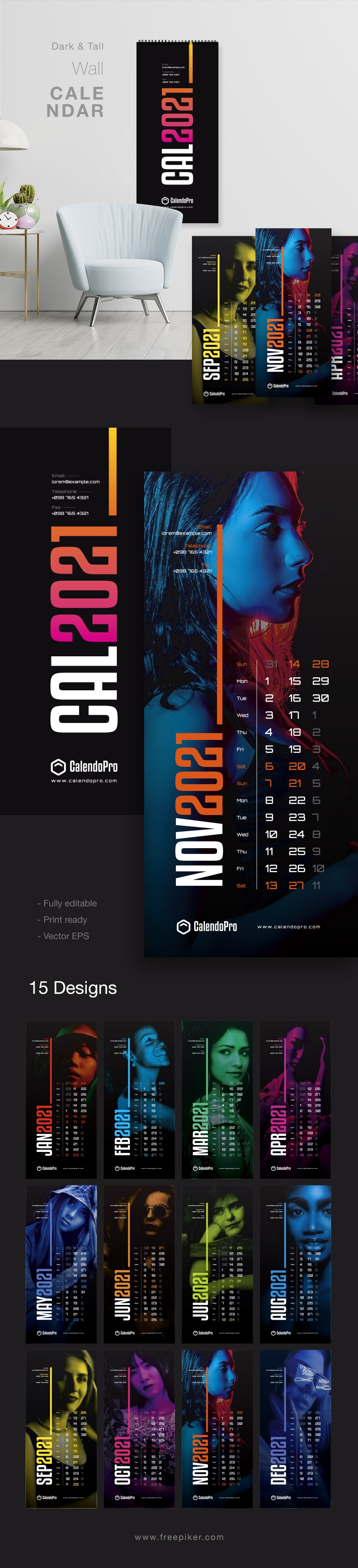 Tall Black Wall Calendar 2021 - New Year