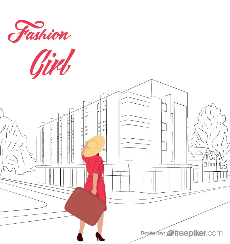 Town Vector by Stroke with a Tourist Girl
