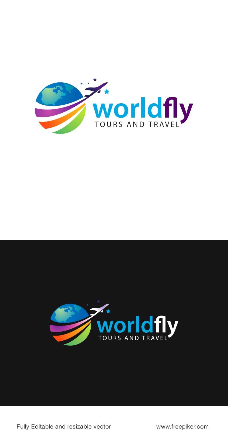 Travel Agency Logo with Rainbow & Blue World