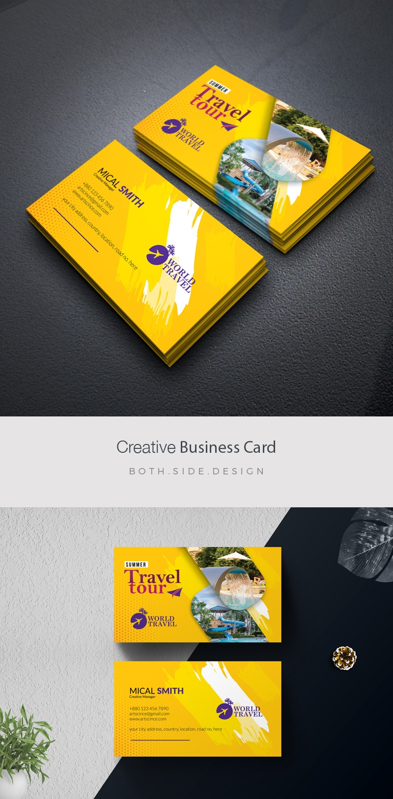 Travel Tours BusinessCard With Yellow Accent