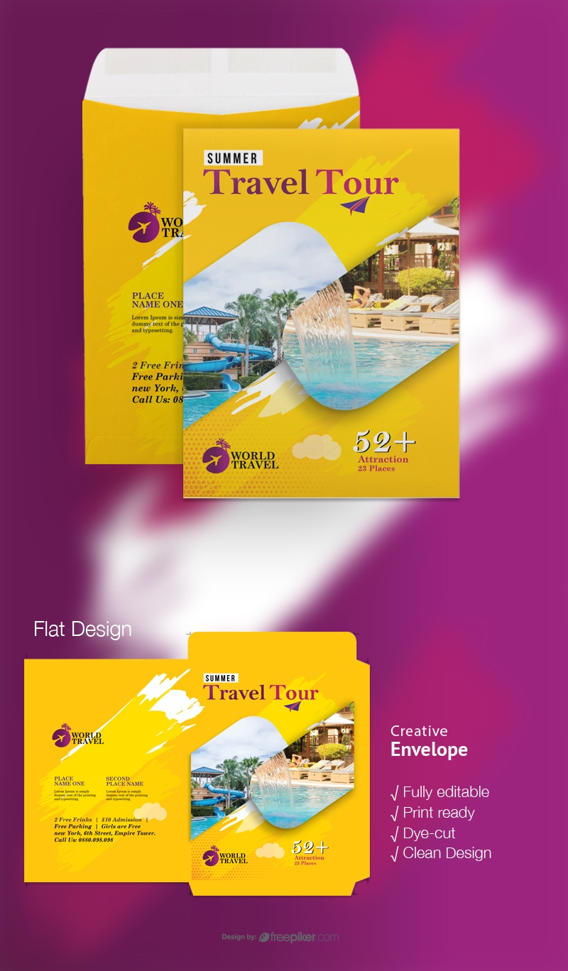 Travel Tours Catalog Envelope With Yellow Accent