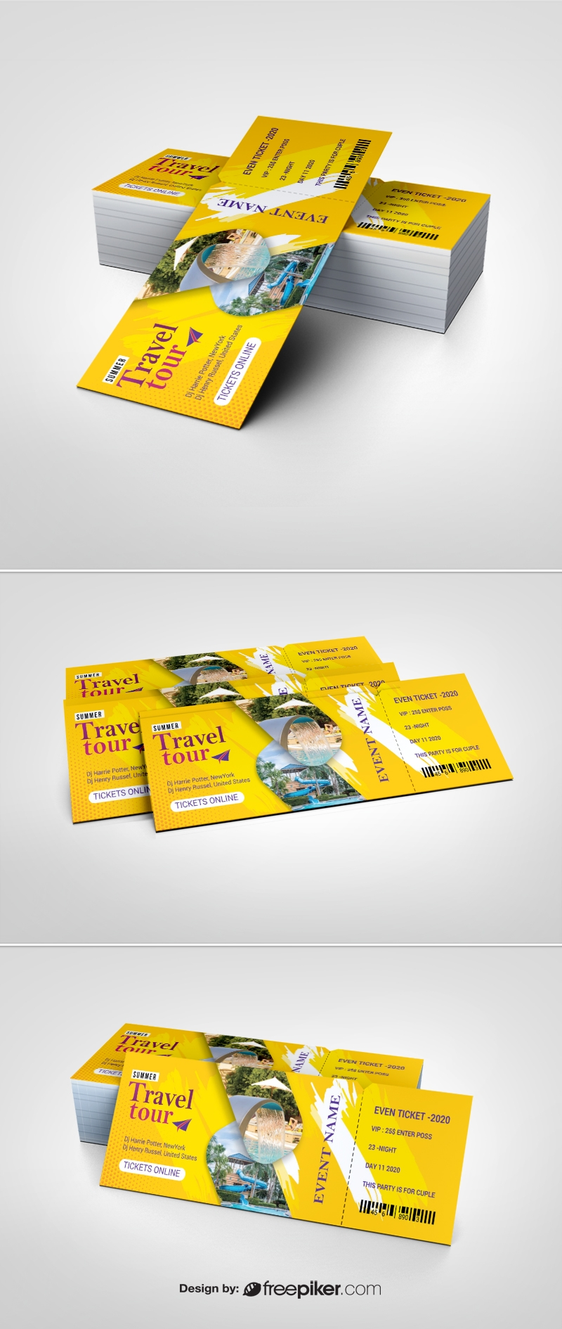 Travel Tours Event Ticket With Yellow Accent