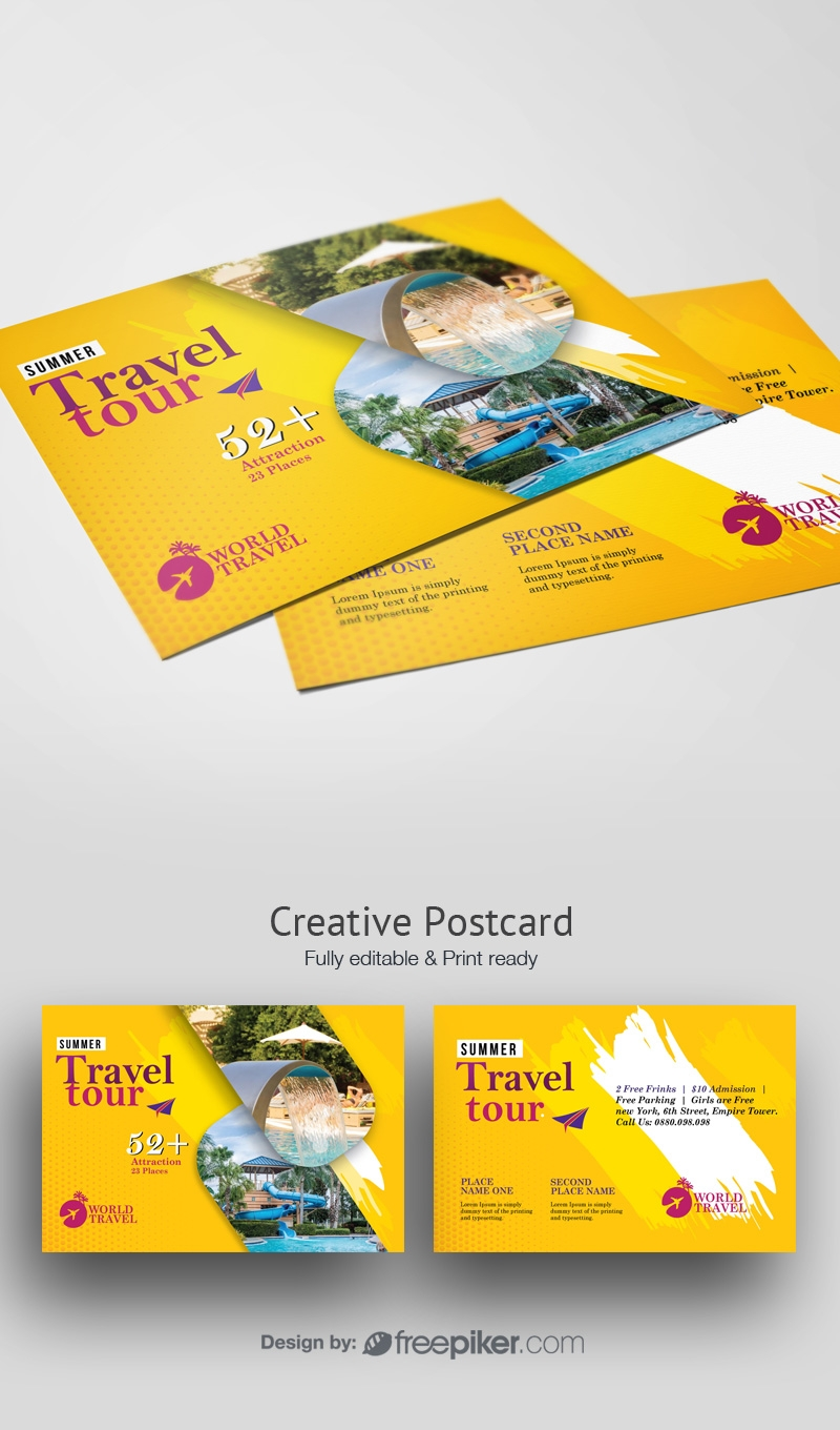 Travel Tours PostCard WIth Yellow Accent