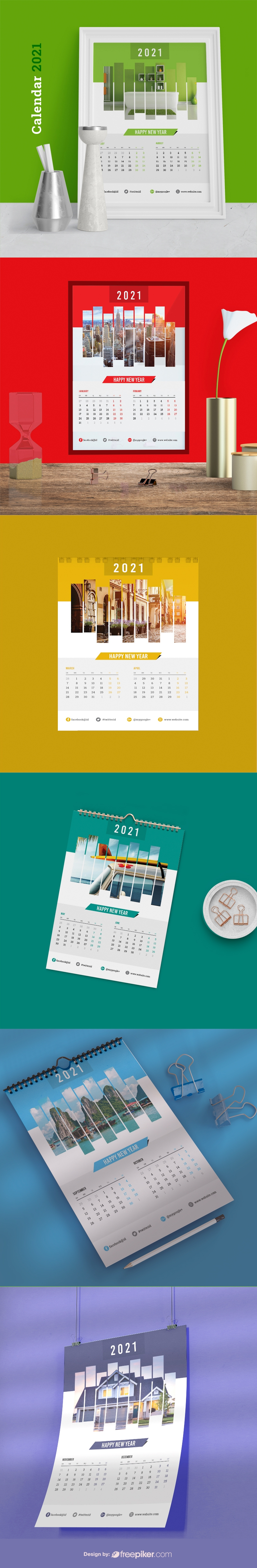 Wall Calendar 2021 - Happy New Year Planner