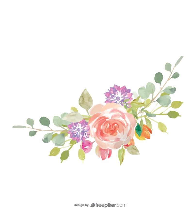 Water Color Flower Vector Design