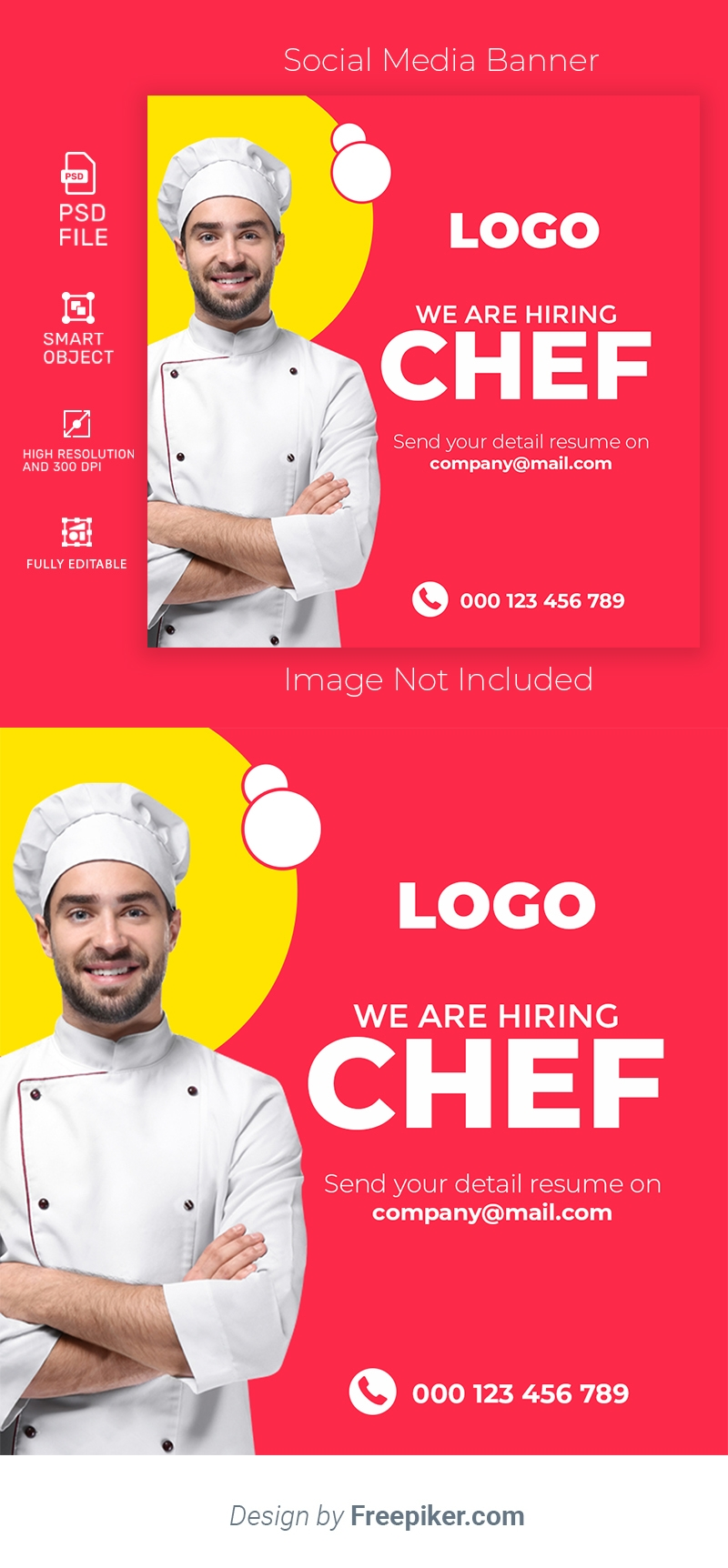 We are hiring chef social media template banner