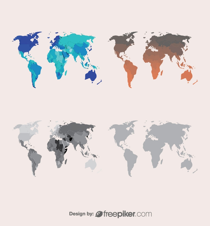 World Map Different Color