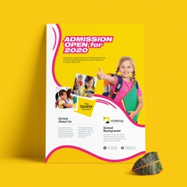 Admission School Flyer With Yellow Accent