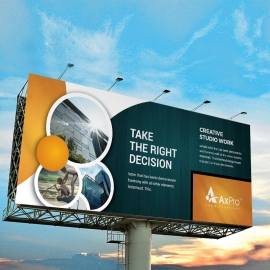 Advertisement Billboard Banner With Circles Elements