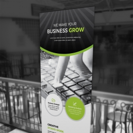 Advertisement Business Rollup Banner With Black