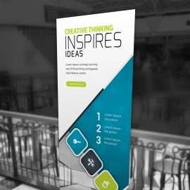 Advertisement Rollup Banner With Blue And Green Accent
