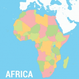 Africa Continent Map Colorfull Vector Besign