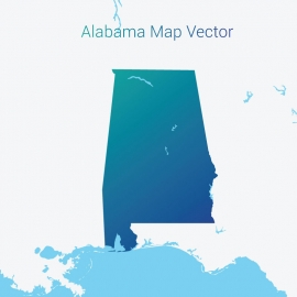 Alabama Map Vector Design with Gradient Color