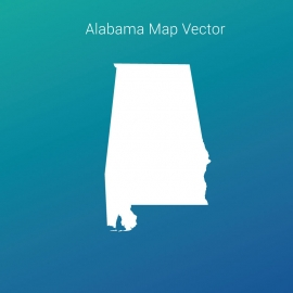 Alabama Map Vector Design With Gradient Color Backgroud