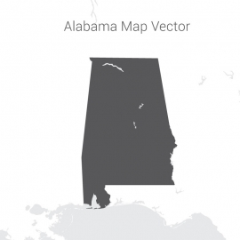 Alabama Map Vector Design with Gray Color
