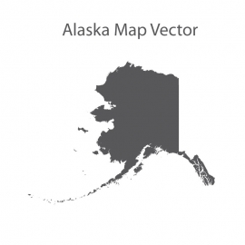 Alaska Map Gray Color Vector Design