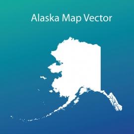 Alaska Map Vector Design with Gradient Color Background