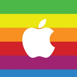 Apple Logo with Color Background