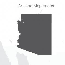 Arizona Map Vector Design With Dark Color