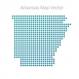 Arkansas Map By Dots  Vector Design