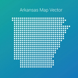 Arkansas Map With Dots And Gradient Color Background Vector Design