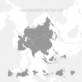 Asia Continent Map in Gray Color