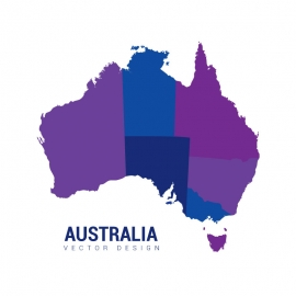 Australia Map Colorfull Vector
