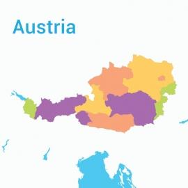 Austria Map Colorful Vector Design
