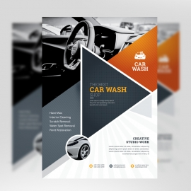 Auto & Transport Flyer With Triangle Elements