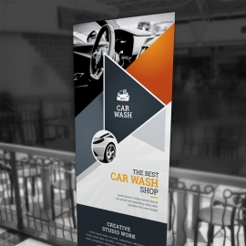 Auto & Transport Rollup Banner With Triangle Elements