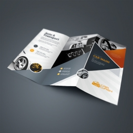 Auto & Transport Trifold Brochure With Triangle Elements