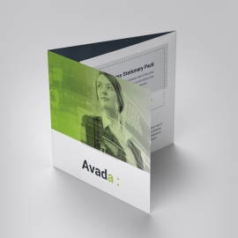 Avada Business Square TriFold Brochure With Green Accent