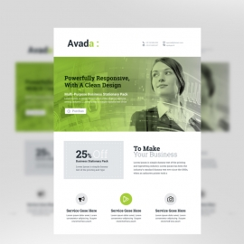 Avada Clean Business Flyer With Green Accent