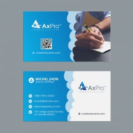 Axpro Business Card With Blue Elements