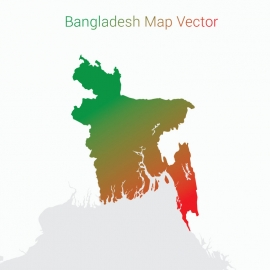 Bangladesh Map Gradient Vector Design