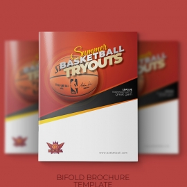 Basketball Tryouts Bifold Brochure Template
