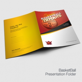 Basketball Tryouts Presentation Folder Template