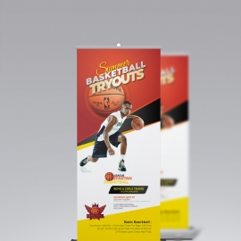 Basketball Tryouts Roll-up Signage