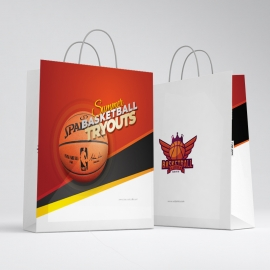 Basketball Tryouts Shopping Bag Template