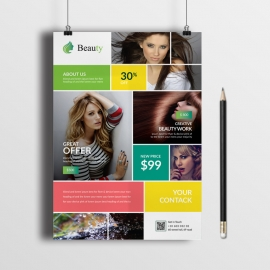 Beauty Salon Flyer With Boxes Design