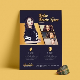 Beauty Salon Modern Flyer With Dark And Golden