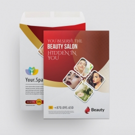 Beauty Spa Salon Catalog Envelope With Red Accent