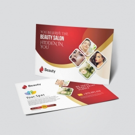 Beauty Spa Salon PostCard With Red Accent