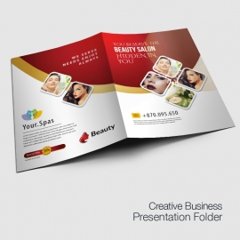 Beauty Spa Salon Presentation Folder With Red Accent