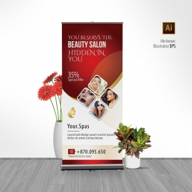 Beauty Spa Salon Rollup Banner With Red Accent