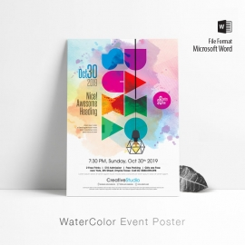 Big Event Party Poster With Watercolor Elements