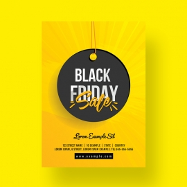 Big Sale Black Friday Flyer With Yellow Accent