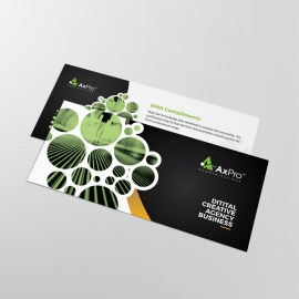 Black Accent Business Compliment Card With Cricle