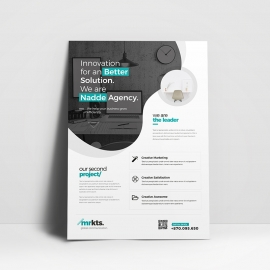 Black Accent Business Flyer With Cricle